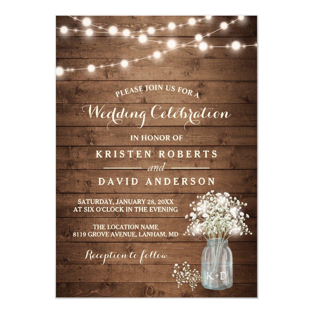 Rustic Baby's Breath Mason Jar Lights Wedding Invitation