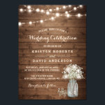 "Rustic Baby's Breath Mason Jar Lights Wedding Invitation<br><div class=""desc"">Rustic Baby"