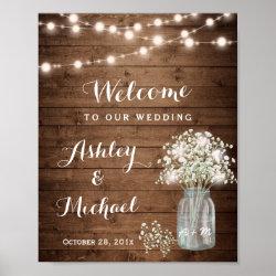 Rustic Baby's Breath Mason Jar Lights Wedding Sign