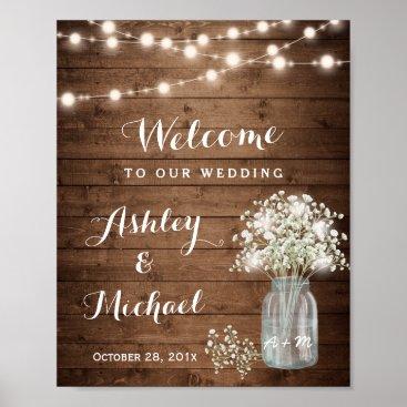 CardHunter Rustic Baby's Breath Mason Jar Lights Wedding Sign