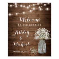 Rustic Baby's Breath Mason Jar Lights Wedding Sign Poster