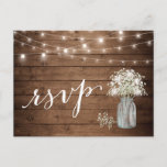 "Rustic Baby&#39;s Breath Mason Jar String Lights RSVP Invitation Postcard<br><div class=""desc"">================= ABOUT THIS DESIGN ================= 