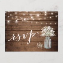 Rustic Baby's Breath Mason Jar String Lights RSVP Invitation Postcard