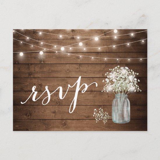 Rustic Baby's Breath Mason Jar String Lights RSVP Invitation Postcard