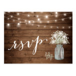 Rustic Baby's Breath Mason Jar String Lights Rsvp Postcard at Zazzle
