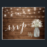"""Rustic Baby&#39;s Breath Mason Jar String Lights RSVP Postcard<br><div class=""""desc"""">================= ABOUT THIS DESIGN =================  Rustic Baby&#39;s Breath Mason Jar String Lights RSVP Reply Card.  (1) For further customization,  please click the &quot;Customize&quot; button and use our design tool to modify this template. (2) If you need help or matching items,  please contact me.</div>"""