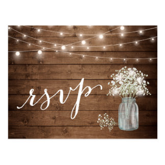 Rustic Baby's Breath Mason Jar String Lights RSVP Postcard
