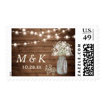 CardHunter Rustic Baby's Breath Mason Jar Wedding Monogram Postage