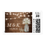 Rustic Baby&#39;s Breath Mason Jar Wedding Monogram Postage<br><div class='desc'>================= ABOUT THIS DESIGN ================= Rustic Baby&#39;s Breath Mason Jar String Lights Wedding Monogram Postage Stamp. (1) For further customization, please click the &quot;Customize it&quot; button and use our design tool to resize, rotate, change colors, add text and more. (2) If you need help or matching items, please feel free...</div>