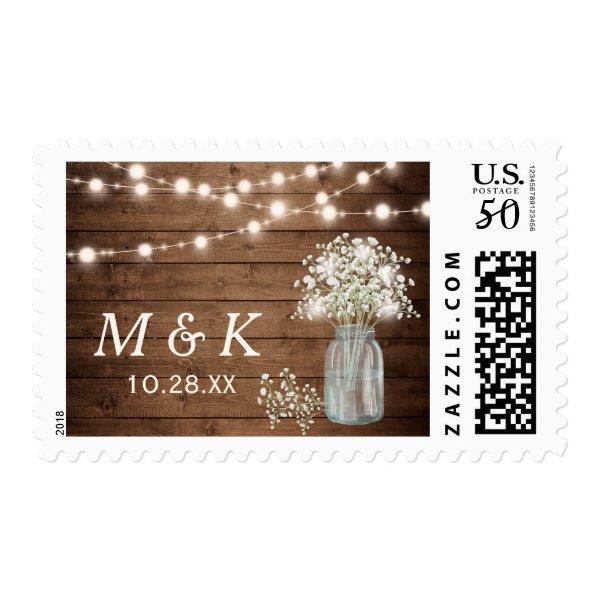 Rustic Baby's Breath Mason Jar Wedding Monogram Postage