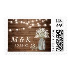 Rustic Baby's Breath Mason Jar Wedding Monogram Postage at Zazzle