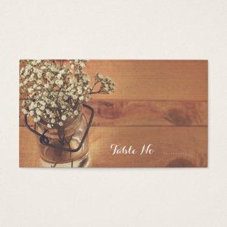 Rustic Baby's Breath Mason Jar Wedding Place Card