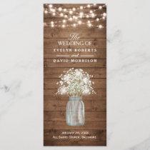 Rustic Baby's Breath Mason Jar Wedding Program