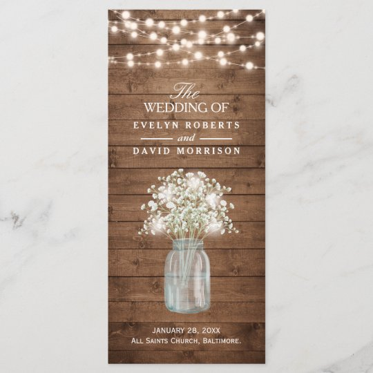 Rustic Baby S Breath Mason Jar Wedding Program
