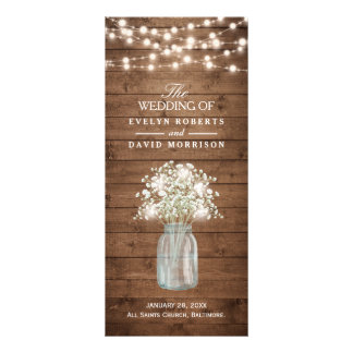 Rustic Baby's Breath Mason Jar Wedding Program