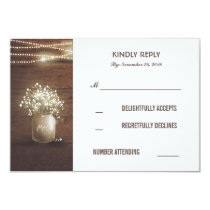Rustic Baby's Breath Mason Jar Wedding RSVP Cards