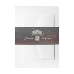 Rustic Baby's Breath Mason Jar Wood Invitation Belly Band