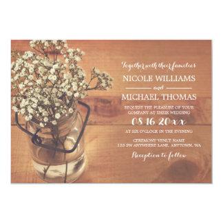 Rustic Baby's Breath Mason Jar Wood Wedding Card