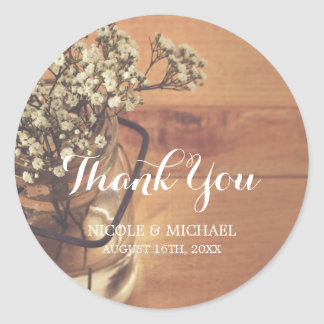 Rustic Baby's Breath Mason Jar Wood Wedding Classic Round Sticker