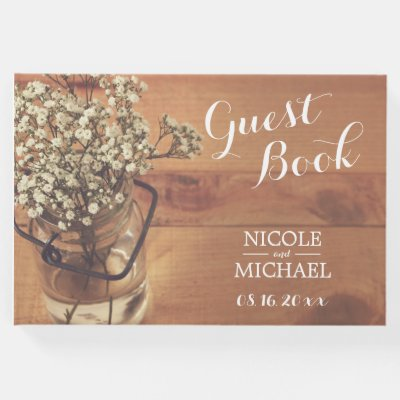 baby's breath mason jar rustic wood lights wedding guest book, Baby shower invitations