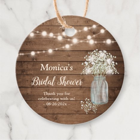 Rustic Baby's Breath String Lights Baby Shower Favor Tags