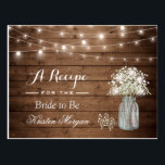 """Rustic Baby&#39;s Breath String Lights Bridal Recipe Postcard<br><div class=""""desc"""">================= ABOUT THIS DESIGN ================= Rustic Baby&#39;s Breath String Lights Bridal Recipe Card . (1) For further customization, please click the &quot;Customize it&quot; button and use our design tool to modify this template. All text style, colors, sizes can be modified to fit your needs. (2) If you need help or...</div>"""