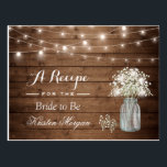 "Rustic Baby&#39;s Breath String Lights Bridal Recipe Postcard<br><div class=""desc"">================= ABOUT THIS DESIGN ================= Rustic Baby&#39;s Breath String Lights Bridal Recipe Card . (1) For further customization, please click the &quot;Customize it&quot; button and use our design tool to modify this template. All text style, colors, sizes can be modified to fit your needs. (2) If you need help or...</div>"