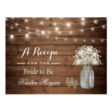 Toddler & Baby themed Rustic Baby's Breath String Lights Bridal Recipe Postcard
