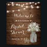 "Rustic Baby's Breath String Lights Bridal Shower Poster<br><div class=""desc"">Rustic Baby's Breath String Lights Bridal Shower Sign Poster. (1) The default size is 8 x 10 inches, you can change it to a larger size. (2) For further customization, please click the ""customize further"" link and use our design tool to modify this template. (3) If you need help or...</div>"