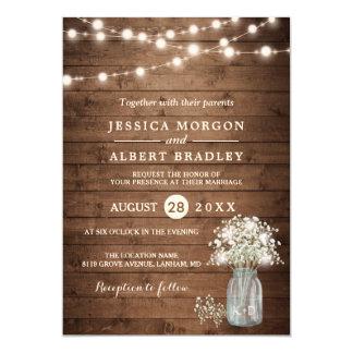 Rustic Baby's Breath String Lights Formal Wedding Card