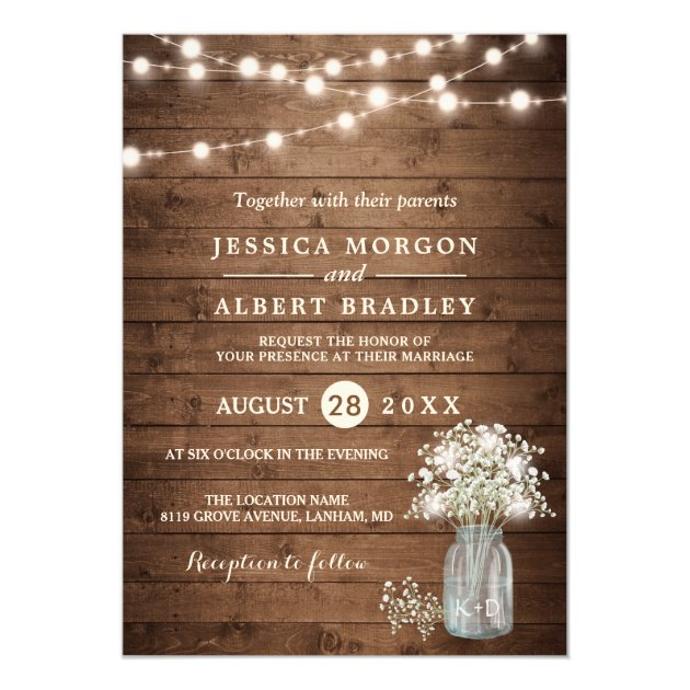 Rustic Baby's Breath String Lights Formal Wedding Card
