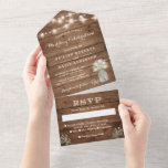 """Rustic Baby's Breath String Lights Wedding All In One Invitation<br><div class=""""desc"""">These """"Rustic Baby's Breath String Lights Wedding All in One Invitations"""" are designed with an easy to tear off perforated RSVP postcard. Just simply fold each card into the outlined shape,  and then seal and send - no envelope needed for shipping.</div>"""