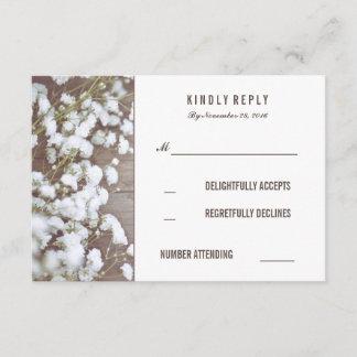 Rustic Baby's Breath Wedding RSVP Cards