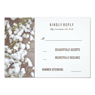 Toddler & Baby themed Rustic Baby's Breath Wedding RSVP Cards