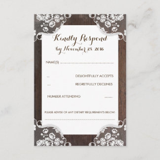 Rustic Baby's Breath Wood and Lace Wedding RSVP