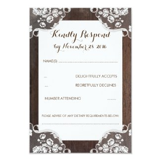 Rustic Baby's Breath Wood and Lace Wedding RSVP Card