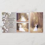 "Rustic Baby&#39;s Breath Wood Wedding Photo Thank You<br><div class=""desc"">Rustic barn wood 3 wedding photos thank you card with baby&#39;s breath flowers</div>"