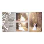 Rustic Baby&#39;s Breath Wood Wedding Photo Thank You Card<br><div class='desc'>Rustic barn wood 3 wedding photos thank you card with baby&#39;s breath flowers</div>