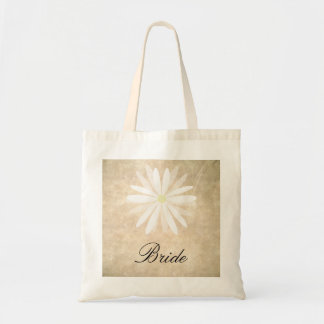 Rustic Background with White Daisy Bride Canvas Bag