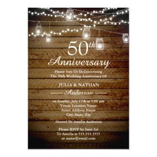 Rustic Backyard 50th Anniversary Invitation