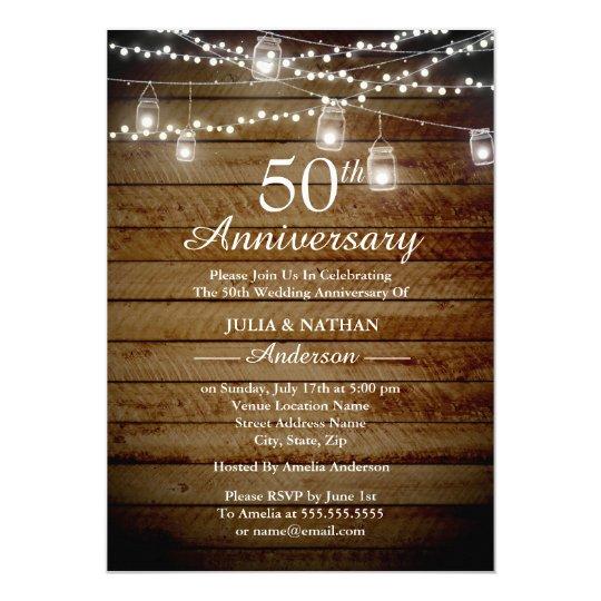 Rustic Backyard 50th Anniversary Invitation Zazzle Com