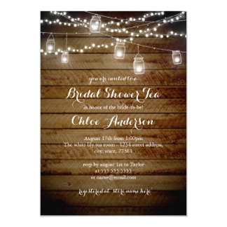 Rustic Backyard High Tea Bridal Shower Invitation
