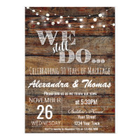 Rustic Backyard Vow Renewal Anniversary Invitation