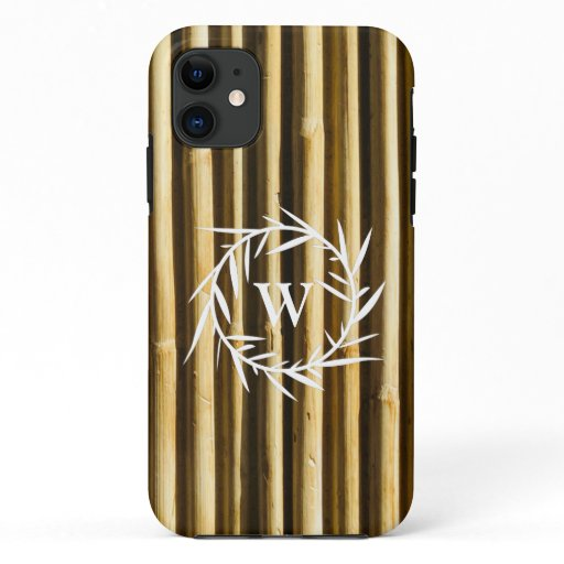 Rustic Bamboo Monogram Vertical Lines Pattern iPhone 11 Case