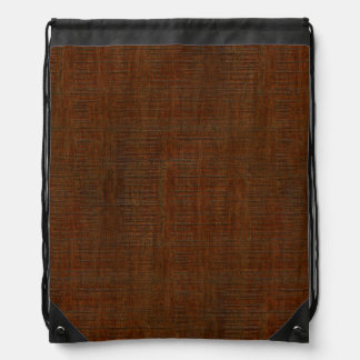Rustic Bamboo Wood Grain Texture Look Drawstring Backpack