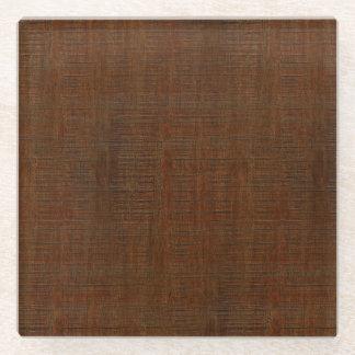 Rustic Bamboo Wood Grain Texture Look Glass Coaster