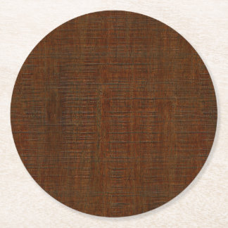 Rustic Bamboo Wood Grain Texture Look Round Paper Coaster