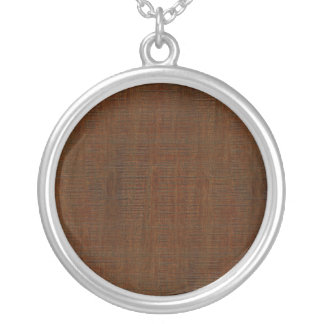 Rustic Bamboo Wood Grain Texture Look Round Pendant Necklace