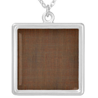 Rustic Bamboo Wood Grain Texture Look Square Pendant Necklace