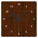 Rustic Bamboo Wood Grain Texture Look Square Wall Clocks